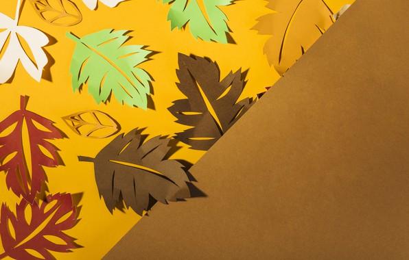 Фото обои осень, листья, фон, colorful, background, autumn, leaves, осенние, paper, бумажные