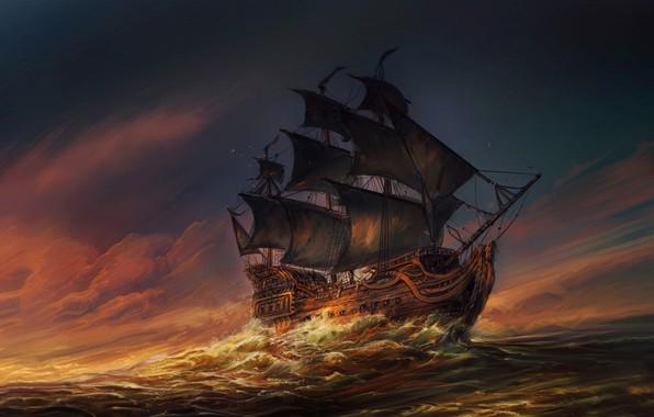 Картинка Океан, Море, Волны, Корабль, Паруса, Sunset, Ocean, Illustration, Sea, Ship, Waves, Sails, At Sea, Jorge ...