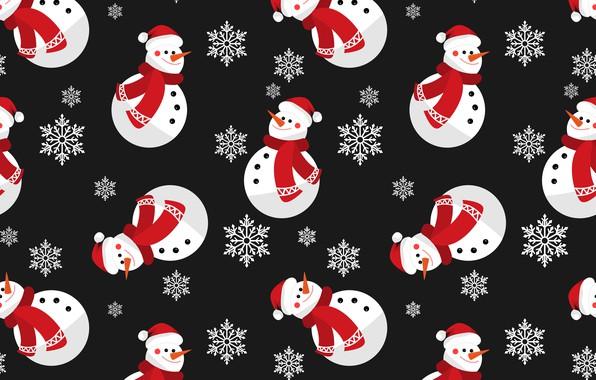 Картинка украшения, фон, Новый Год, Рождество, снеговик, Christmas, winter, background, pattern, New Year, snowman, decoration, xmas, …