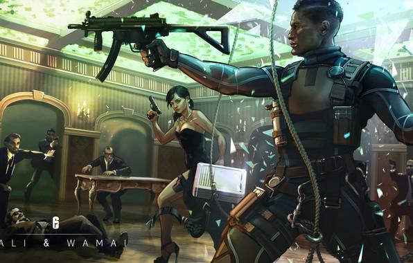 Картинка пистолет, оружие, арт, art, Ubisoft, спецназ, mp5, наёмники, пистолет-пулемет, Tom Clancy's Rainbow Six Siege, Rainbow …