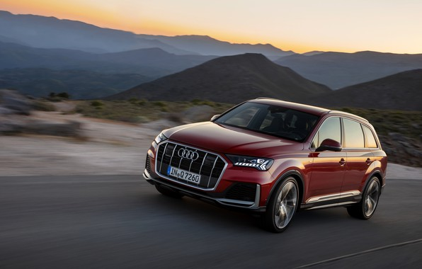 Картинка движение, Audi, кроссовер, Audi Q7, 2020