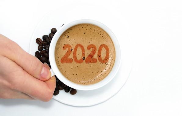 Картинка пузырьки, кофе, горячий, рука, цифры, кружка, чашка, белый фон, Новый год, напиток, кофейные зёрна, блюдце, …