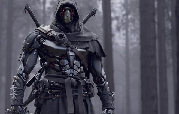 Картинка оружие, меч, воин, солдат, доспех, Киборг
