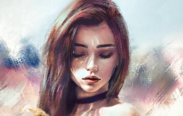 Картинка лицо, брови, шатенка, губки, плечи, длинные волосы, закрытые глаза, портрет девушки, чокер, свет и тень