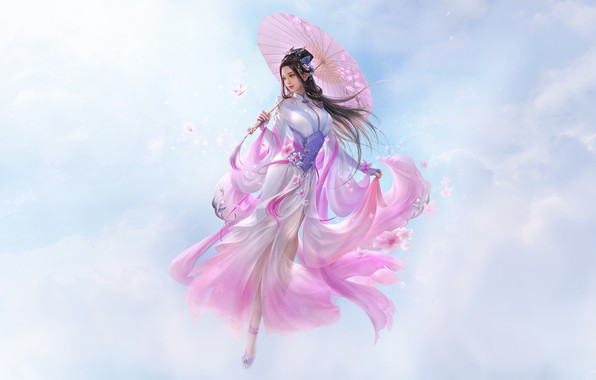 Картинка Girl, Fantasy, Clouds, Sky, Beautiful, Art, Asian, Style, Umbrella, Illustration, Asia, Characters, Dress, 3Q STUDIO