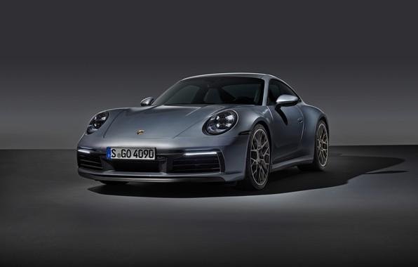 Картинка серый, фон, купе, 911, Porsche, Carrera 4S, 992, 2019