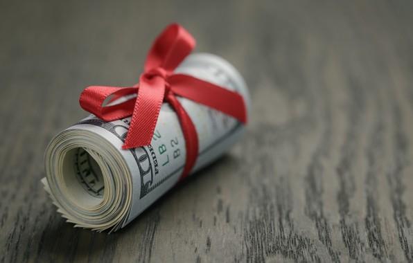 Картинка money, dollars, roll, red bow