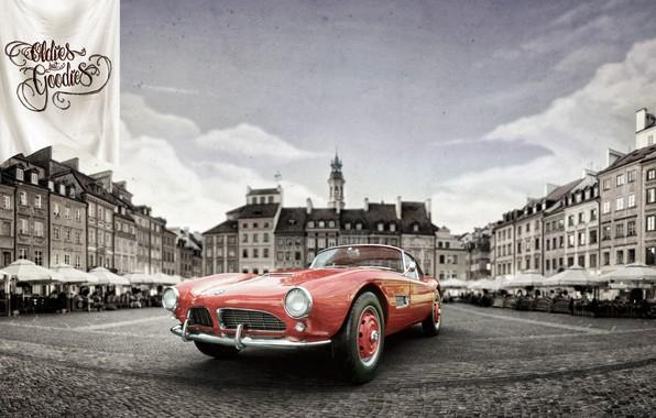 Картинка Авто, Город, Ретро, BMW, Машина, City, Coupe, Рендеринг, Retro, 1959, Vehicles, BMW 507, Transport, Transport ...