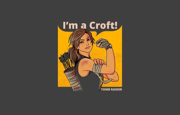 Картинка lara croft, tomb raider, long hair, minimalism, fist, arrows, tank, watches, grey background, 2019, propaganda …