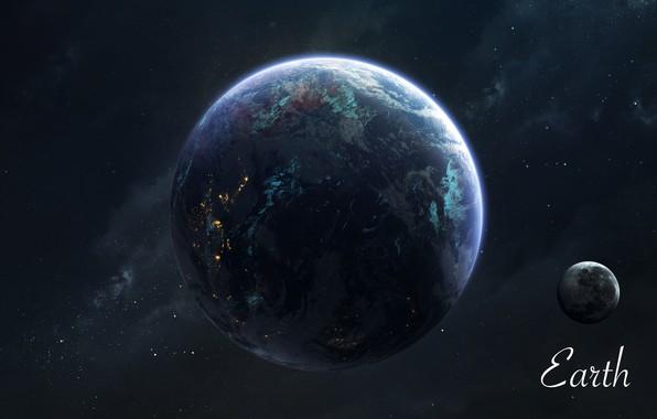 Картинка Звезды, Луна, Планета, Космос, Земля, Moon, Арт, Stars, Space, Art, Earth, Planet, Universe, Galaxy, Система, ...