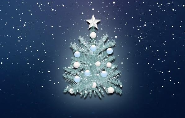 Картинка Минимализм, Снег, Рождество, Снежинки, Фон, Новый год, Праздник, Арт, Christmas, Art, Настроение, Ёлка, Snow, New …