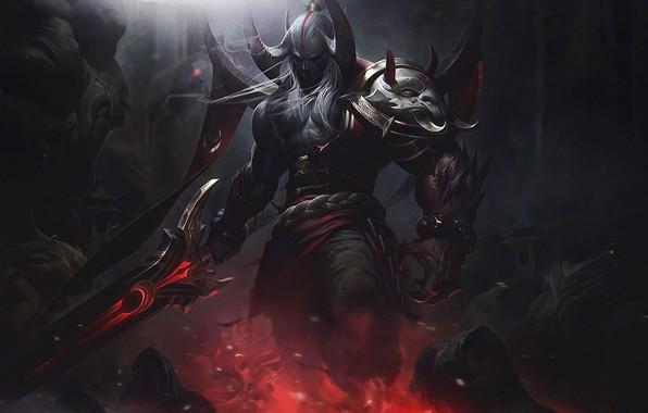 Картинка dark, fire, sword, fantasy, game, armor, weapon, League of Legends, digital art, artwork, warrior, fantasy …