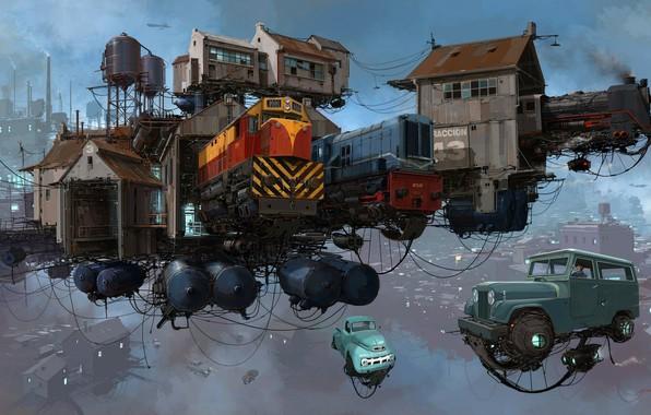 Картинка Небо, Авто, Рисунок, Город, Локомотив, Машина, Поезд, Мир, Поезда, City, World, Fantasy, Sky, Автомобиль, Арт, …