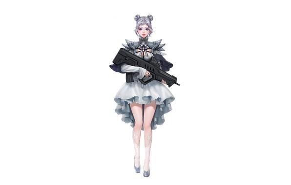 Картинка Girl, Gun, Art, Style, Background, Weapon, Minimalism, Da Hye Lee, Lolita Gunslinger