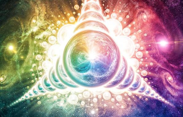 Картинка космос, отражения, взрыв, сила, фракталы, бог, шар, спираль, звёзды, галактика, space, ядро, черная дыра, сфера, …
