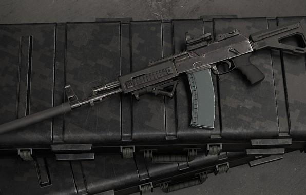Картинка рендеринг, оружие, тюнинг, gun, weapon, render, глушитель, custom, Калашников, штурмовая винтовка, assault Rifle, silencer, Kalashnikov, …