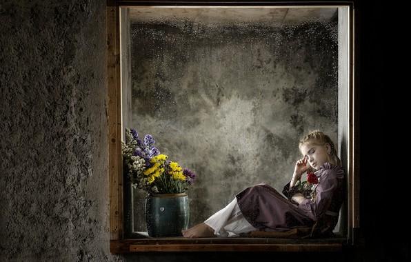 Картинка цветы, окно, девочка