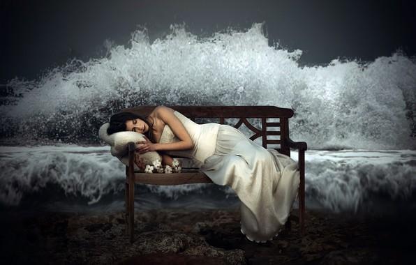 Картинка девушка, волна, скамья