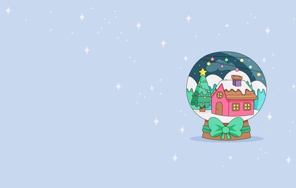 Картинка настроение, новый год, минимализм, вектор, арт, снежный шар