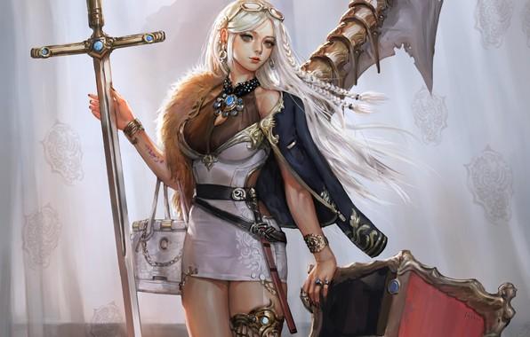 Картинка girl, sword, fantasy, dress, weapon, blue eyes, blonde, digital art, Princess, artwork, shield, fantasy art, …