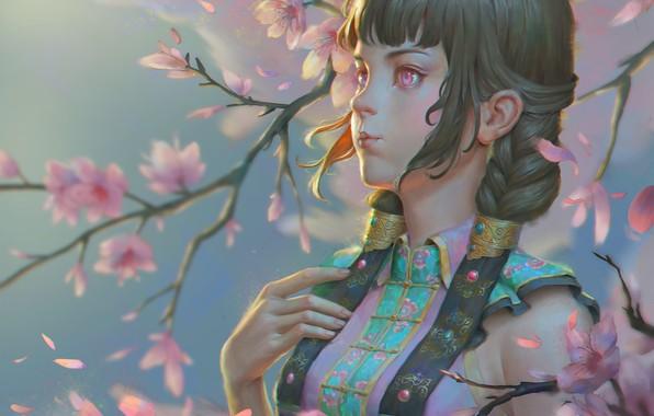 Картинка ветер, весна, сакура, арт, Naranbaatar Ganbold, Maral Portrait