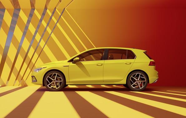 Картинка Volkswagen, вид сбоку, хэтчбек, Golf, hatchback, R-Line, 2020