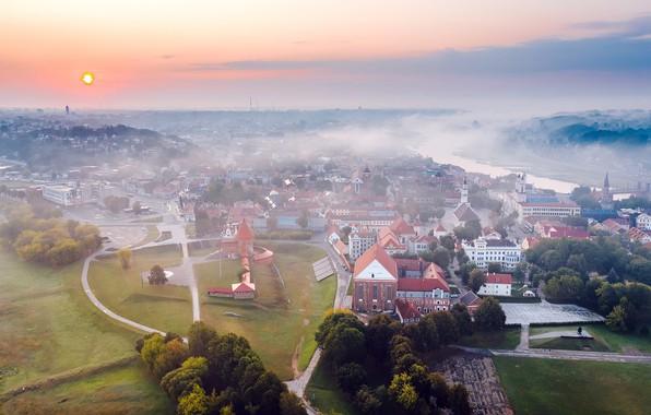 Обои город, туман, Lietuva, Kaunas
