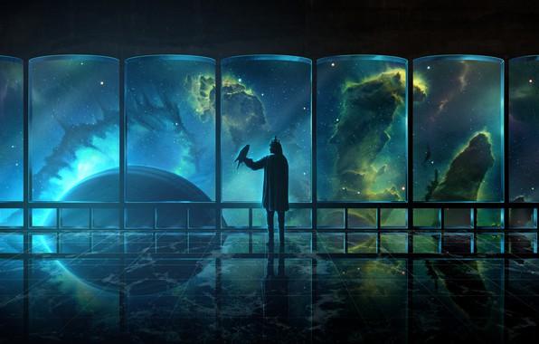 Картинка dark, universe, fantasy, Space, bird, nebula, science fiction, stars, man, sci-fi, painting, galaxy, digital art, …