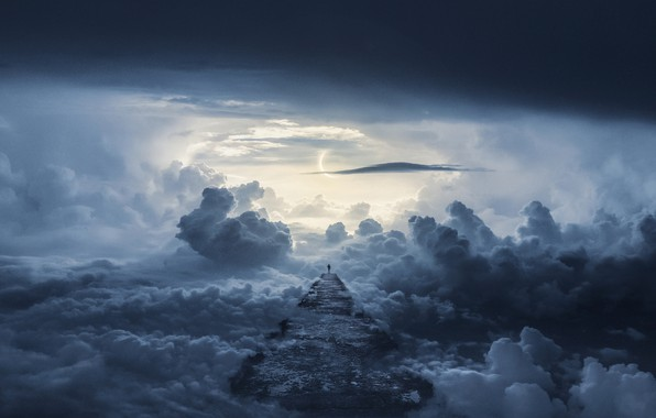 Картинка дорога, облака, путь, человек, road, clouds, way, man, Mika Suutari