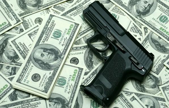 Картинка пистолет, деньги, доллары