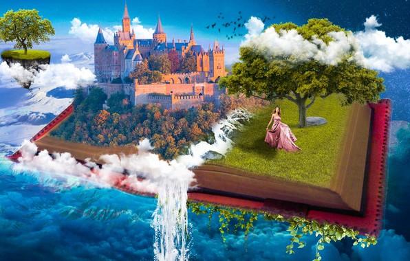 Картинка небо, вода, девушка, облака, замок, фантазия, дерево, коллаж, вселенная, небеса, рай, водопад, сказка, фэнтези, арт, …