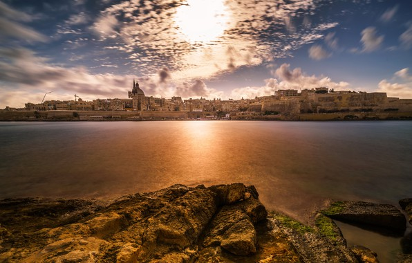Картинка Sunset, Malta, Valletta