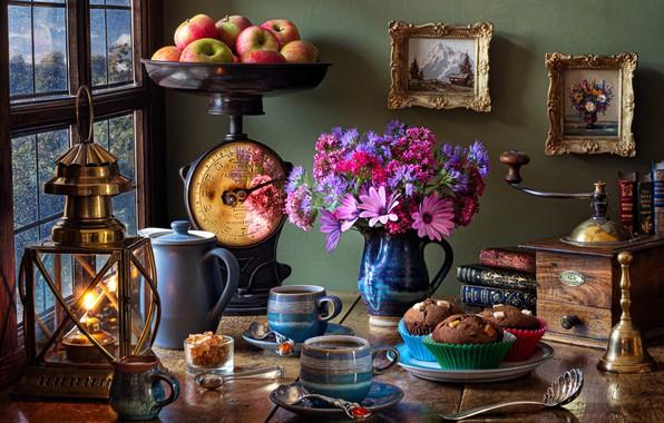 Картинка цветы, стиль, яблоки, лампа, букет, фонарь, картины, кружки, весы, кексы, кофемолка