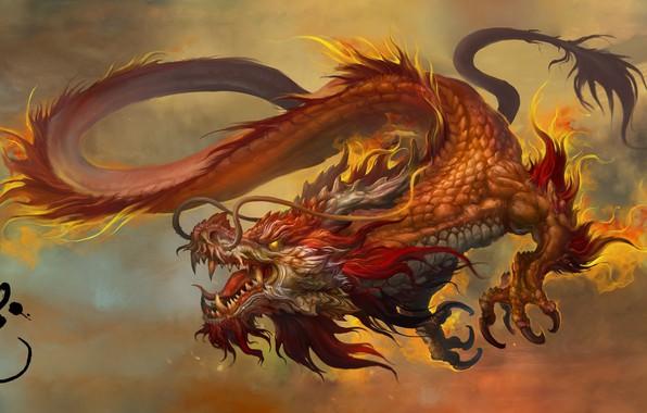 Картинка Fantasy, Dragon, Art, Russell Dongjun Lu, by Russell Dongjun Lu, Chinese Dragon