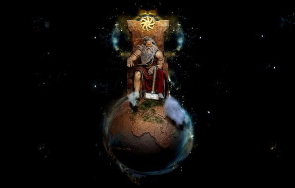 Картинка Планета, Статуя, Земля, Молот, Чёрный фон, Сидит, Трон, Сварог, Славянский бог, Саша Крейгерман, Колесо Жизни, …