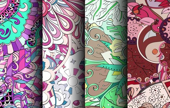 Картинка цветы, фон, узор, текстура, геометрия, орнамент