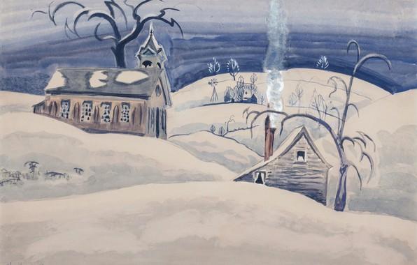 Картинка 1918, Charles Ephraim Burchfield, Country School House in Winter