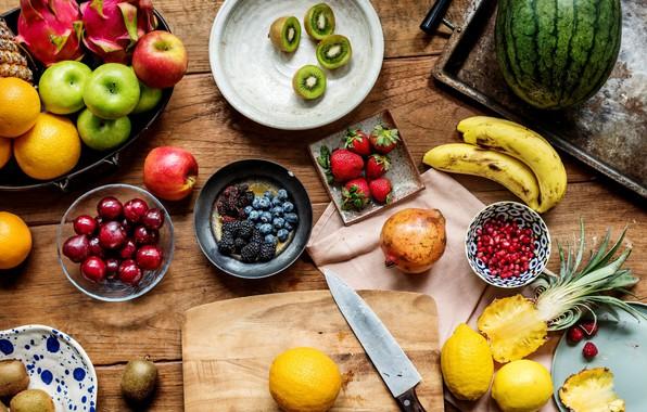 Картинка ягоды, стол, яблоки, арбуз, киви, клубника, фрукты, ананас, банан, черешня, гранат