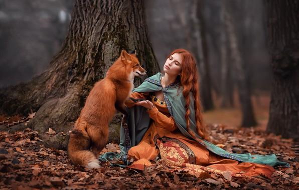 Картинка девушка, деревья, поза, волосы, лиса, коса, рыжая, Анастасия Бармина, Александра Черкашина