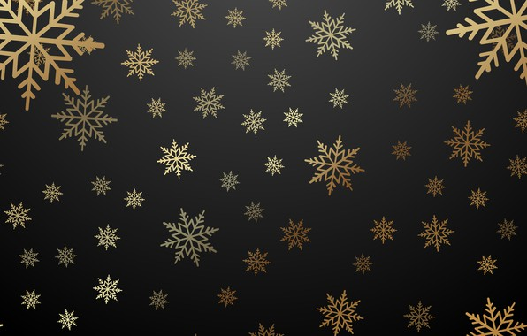 Картинка зима, снежинки, золото, Новый Год, Рождество, golden, черный фон, gold, black, Christmas, winter, background, New …