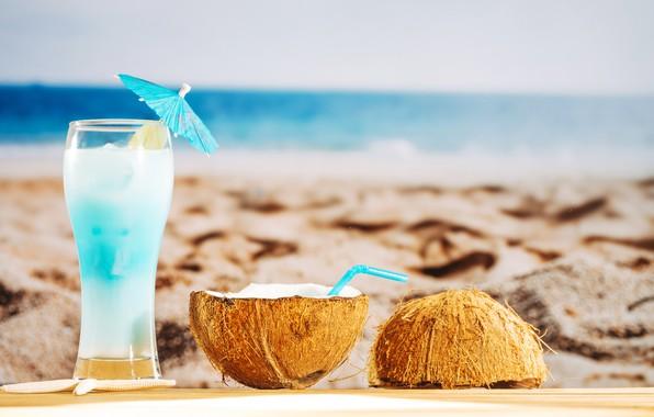 Картинка песок, море, пляж, лето, отдых, кокос, коктейль, summer, beach, каникулы, sand, fruit, drink, coconut, vacation, …
