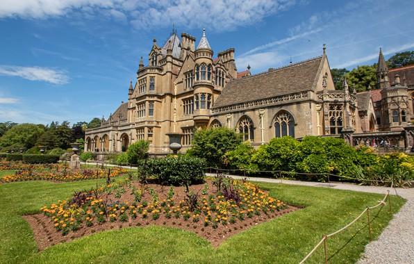 Картинка цветы, дом, парк, здание, Англия, сад, архитектура, клумбы, England, North Somerset, Wraxall, Северный Сомерсет, Раксолл, …