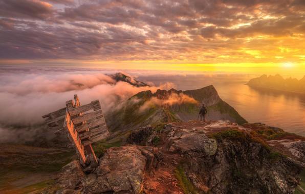 Картинка небо, облака, закат, река, Норвегия, Norway, Ed Gordeev, Husfjellet