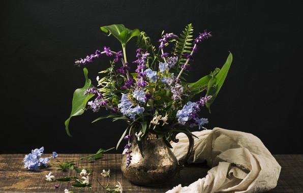 Картинка цветы, стол, букет, кувшин