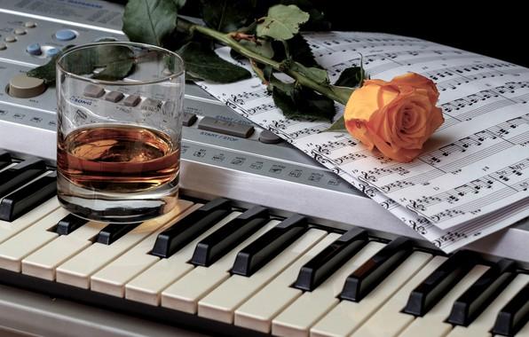 Картинка стакан, ноты, роза, клавиши, виски