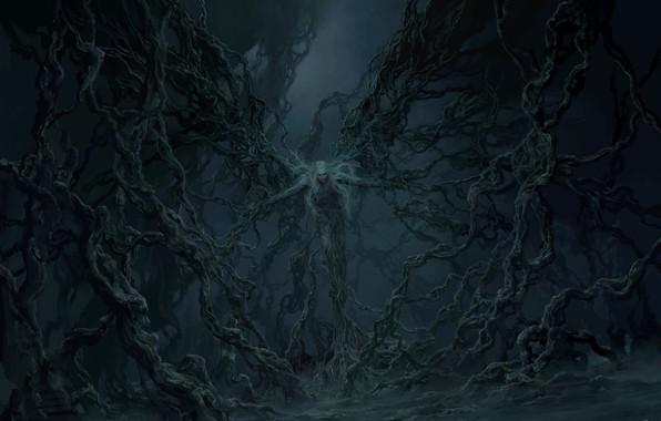 Картинка страх, тьма, дьявол, art, трансформация, сатана, Tianhua Xu, преисподняя
