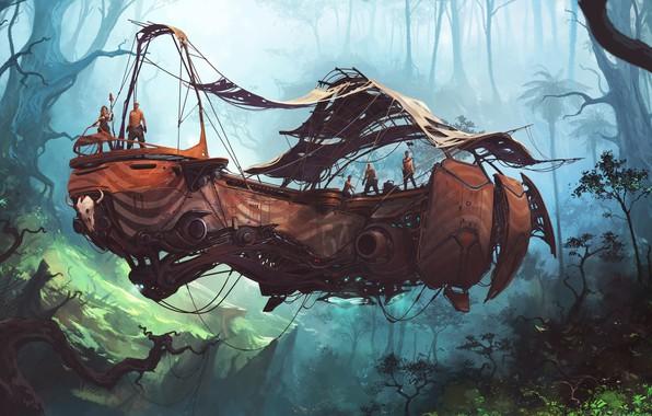 Картинка Лес, Люди, Джунгли, Jungle, Арт, Art, Фантастика, Транспорт, Forest, People, Science Fiction, Transport, Летающий транспорт, …
