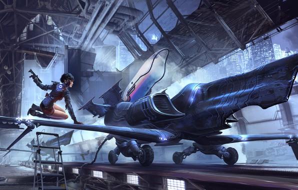 Картинка Девушка, Рисунок, Самолет, Girl, Арт, Фантастика, Jet, Characters, Sci-Fi, Реактивный самолет, Science Fiction, Cyberpunk, Environments, …