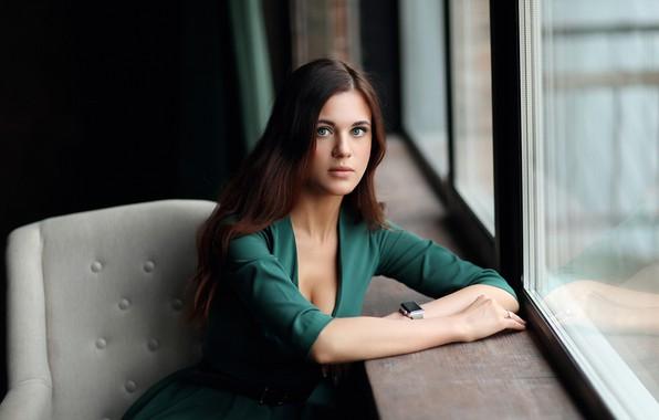 Картинка грудь, взгляд, волосы, часы, Девушка, Екатерина, платье, окно, Dmitry Arhar