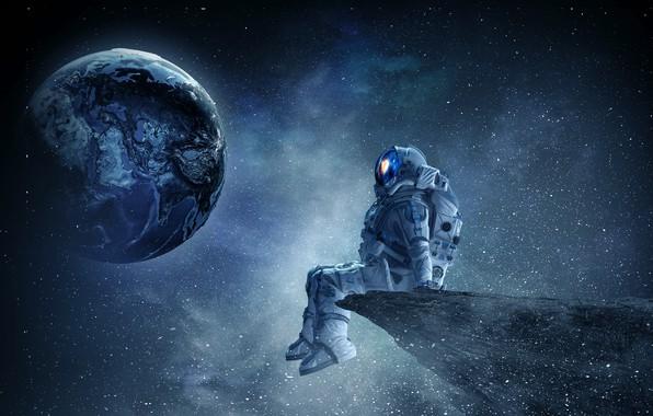 Картинка space, fantasy, art, stars, planet, austronaut